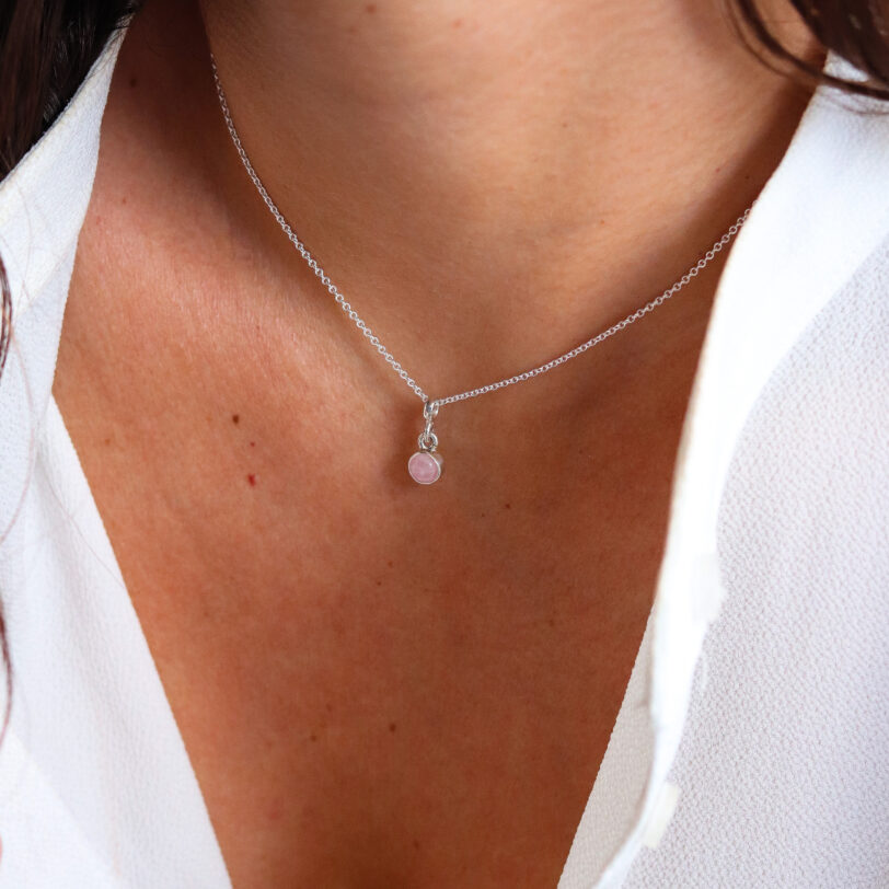 collar _ cuarzo rosa _ plata _ modelo