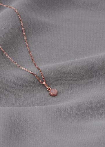 collar _ cuarzo rosa _ rosa _ tela gris