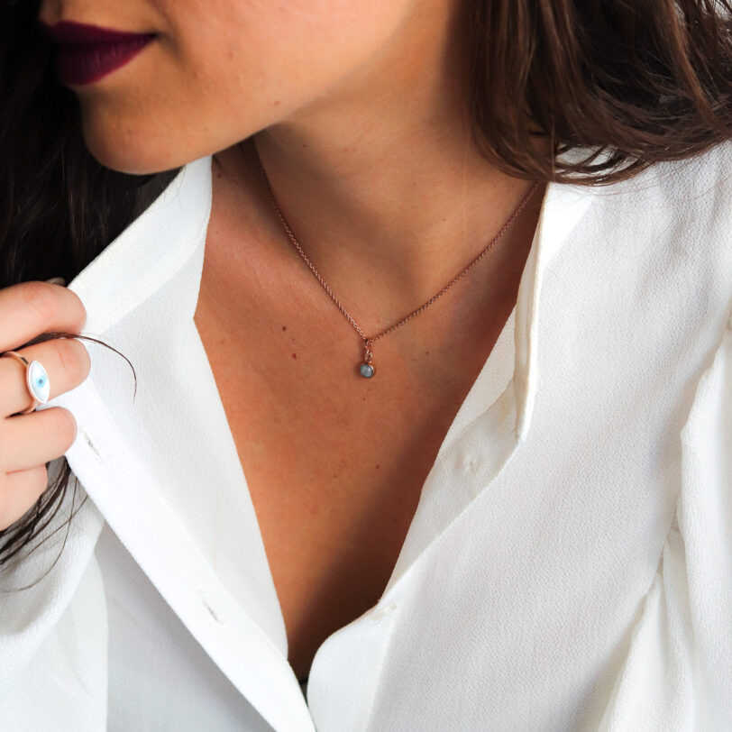 collar _ piedra luna _ rosa _ modelo